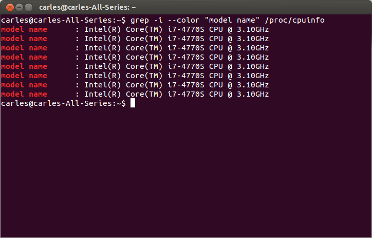 /proc/cpuinfo of an Intel Core i7-4470S CPU at 3.10GHz - 8 Cores